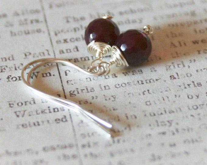 Burgundy Red Agate Drop Earrings. Petite Gemstone Earrings. Boho Glam Jewelry
