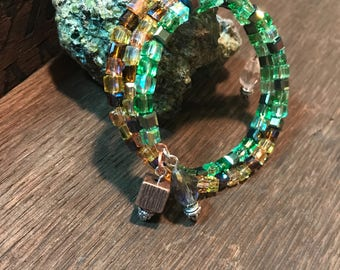 Green and Amber Cube Glass Wrap Bracelet