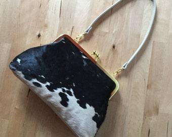 Calf hair clutch, spotted hair on hide bag , cowhide clutch with strap, calf hair bag, kiss lock frame purse, fur clutch, Black and Cream