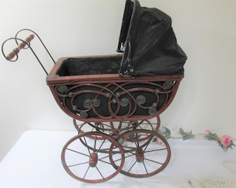 Wicker Doll Carriage Large 21 inch Wood, Canvas with Iron Rimmed Wheels