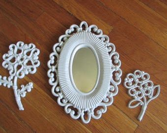 Mirror and Flowers Upcycled Set of 3 Instant Wall Grouping Vintage Homco 1978