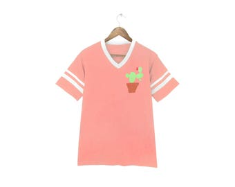Cactus Striped Ringer Tee - V-Neck T-shirt, Left Pocket Shirt, Tumblr Tee, Patch Tshirt in Peach and White - Unisex + Kids Size S-3XL