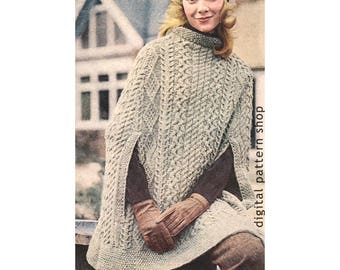Irish Aran Poncho Knitting Pattern Cape Pattern Arm Slits PDF Instant Download