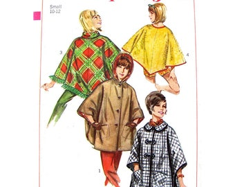 60s Hooded Poncho or Cape Pattern Simplicity 6651 Button Front Poncho Beach Cover Up Poncho Womens Sewing Pattern Size 10 12