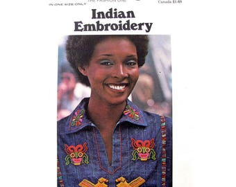 Vintage 70s Native Indian Embroidery Transfer Butterick 4783 Rising Sun Border Transfers Southwestern Motif for Shirts Clothing UNCUT