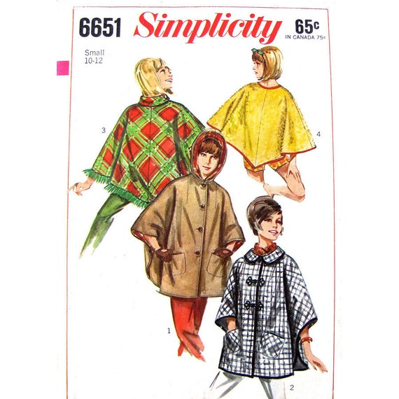 Hooded Poncho or Cape Pattern Simplicity 6651 Button Front Beach Cover Size 10 12
