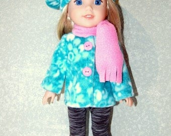"""Jacket Hat Scarf for 14"""" Wellie Wishers or Melissa & Doug fleece Doll Clothes Minty Green-blue  tkct1193 READY TO SHIP"""