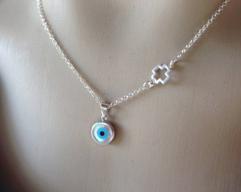 Evil eye necklace & cross - 925 sterling silver - protection - Greek jewelry - Greece - Gift for her - Cross necklace