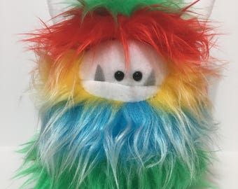 Stuffed Monster - Monster Plushie - Rainbow Monster Doll - Cuddly Monster - Soft Toy Plush Monster - Fuzzling - Monster Softie - Handmade