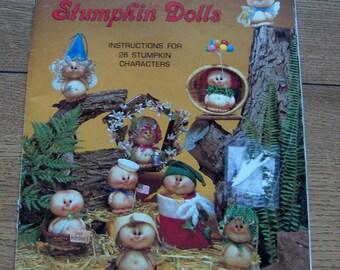 vintage 1983 pattern book soft sculpture Wee Folk Stumpkin Dolls 26 characters uncut