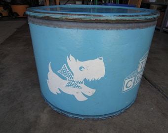 Baby Blue Scotty Dog Round Toy Box/Drum Canister Steel & Cardboard
