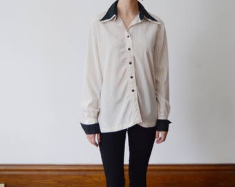 Late 70s early 80s White Pinstripe Blouse - S/M