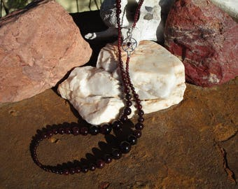 Garnet Pentacle Necklace~All Garnet and Sterling Silver~High Priestess~Mother Goddess~Claspless