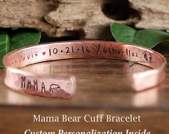 Personalized jewelry unique gifts by anniereh on etsy mama bear cuff bracelet baby stats custom cuff bracelets personalized mama bear jewelry negle Gallery