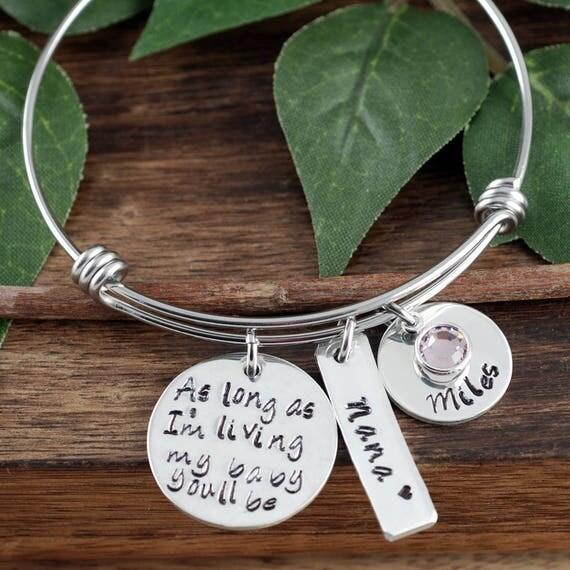 Bangle Bracelet for Mom, Mothers Day Gift, Custom Bracelet, Personalized, Mom Charm Bracelet, As long as I'm Living, Grandma Bracelet