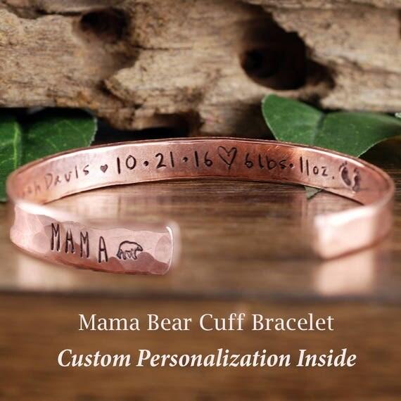 Mama Bear Cuff Bracelet, Baby Stats, Custom Cuff Bracelets, Personalized Mama Bear Jewelry, Mother Bracelet, Mama Bear Jewelry, Gift for Mom
