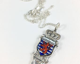 Luxembourg Necklace, Luxembourg Charm, Luxembourg Jewelry, Spoon Necklace, Spoon Jewelry, Luxembourg Gift,  Wife Gift, Vintage Luxembourg