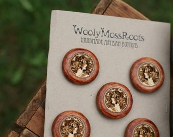 5 Cameo Lady Buttons- Yellow Cedar Wood- Wooden Buttons- Eco Craft Supplies, Eco Knitting Supplies, Eco Sewing Supplies