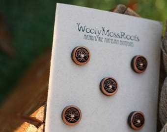 5 Wooden Tree Buttons- - Wooden Buttons- Eco Craft Supplies- Crafting, Sewing, Knitting Buttons
