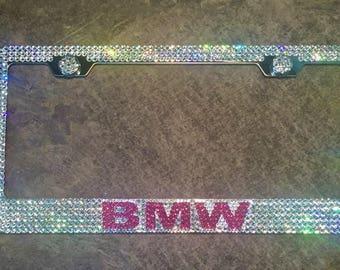 Pink BMW License Plate Frame made with Swarovski Crystals - BMW Car Jewelry