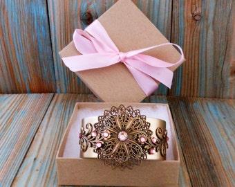 Brass Bracelet Vine and Floral Swarovski Crystal Adjustable ~ Rose Pink Rhinestone Wide Cuff Bracelets for Women ~ Bronze Wrist Jewelry