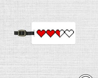 Luggage Tag 8 Bit Gamer Life hearts RPG video Game Personalized Luggage Tag | Metal Tag with Custom Backs, Single Tag