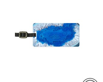 Luggage Tag Geode Personalized Metal Tag, Single Tag   Custom information on Backs Choice of Straps