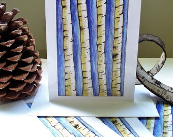 Aspen Tree Note Cards Park City Utah Art White Birch Bark Artist Notecard Set