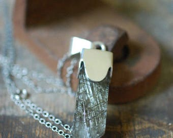 Metallic Luster Pendant Opera Length Green Sagenitic Quartz
