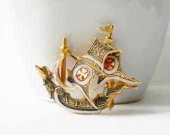 Vintage Nautical Ship Brooch, Vintage Spanish Brooch, Ship Pin