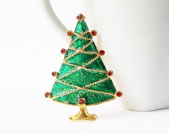 Vintage Christmas Tree Brooch, Vintage Christmas Jewelry, Christmas Tree Pin Brooch