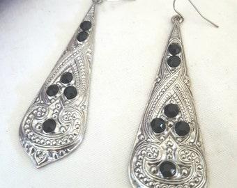 elven earrings, long silver earrings, black and silver, long gypsy dangle earrings, elven costume