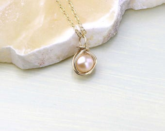 Gold Pendant Necklace- Creamy Freshwater Pearl Wire Wrapped with 14Kt Gold filled Wire- Dainty Gold Necklace, Peach Champagne or White Pearl
