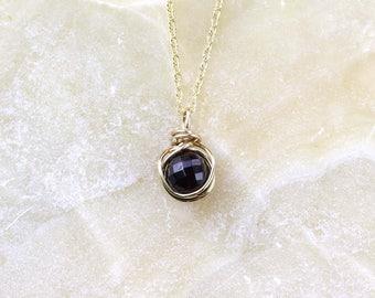 Garnet and Gold Necklace, Garnet Pendant, January Birthstone, Gold filled Garnet Necklace, Gift for Her, Faceted Garnet Gemstone Necklace