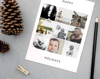 Happy Holiday Cards, Custom Christmas Cards, Elegant, Simple, Photography, Modern, Personalized, Holidays - Multi-image Holiday Card
