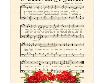 O Come All Ye Faithful - Christian Home Or Office Decor- Christmas Carol Wall Art- Holiday Wall Art- VintageVerses Sheet Music Wall Art Sale