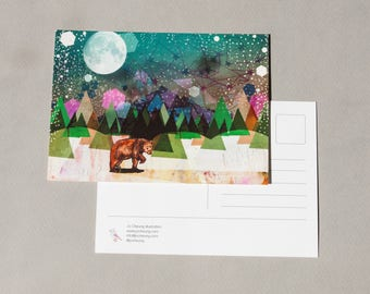 Alone Postcard - Bear Artwork - Small Gift Idea - Gift for Animal Lovers - Gift for Friends - Illustrated Brown Bear - Nature