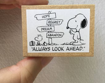 Snoopy Rubber Stamp - Always Look Ahead -  Kodomo no Kao Stamp