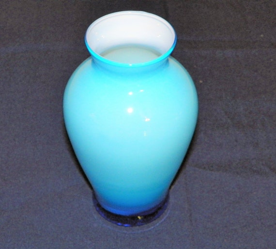 Hand Blown Cased Art Deco Blue Glass Vase