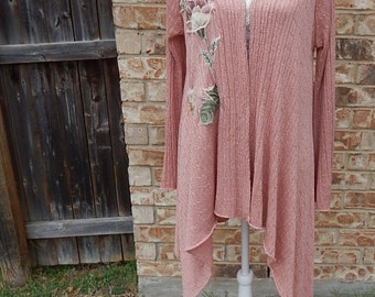 Altered Rose with Gold Glitter asymmetric long lightweight sweater, Large appliqued rose flowers, Size Medium, Shabby Chic Long Cardigan