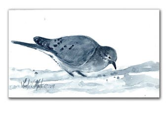 Mourning Dove Blues  Bird Original Watercolor painting LLMartin Free Shipping USA Nursery, New Mom , Country, Den