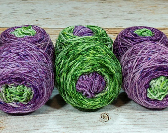 "Fraternal Shorty Sock Twins "" Fruit Of The Vine "" - Llark Handpainted Gradient Speckle Sock Yarn"