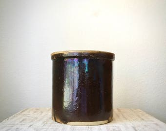 Vintage Antique Brown Stoneware Crock, One Gallon