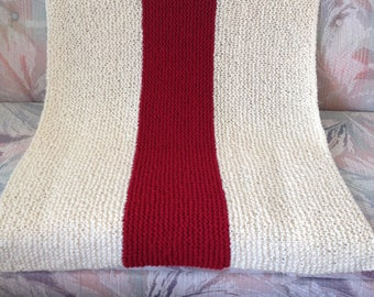 Cream and Red stripe afghan