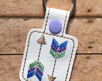 Arrows Key Chain, Embroidered Key Fob