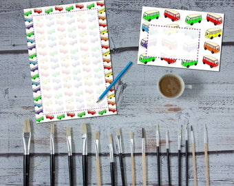 The Love Bus 'print your own' letter writing paper set