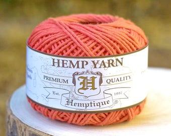 Cotton Hemp  Yarn, Orange, Natural  Yarn, Knitting Wool, Hemp Fiber