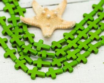 Green Cross Beads, 16 x 11mm, 25 Beads, Green Beads, Cross, Howlite Beds -B241