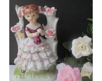 Girl Trellis Figurine * Rose Trellis * Girl In Ruffled Skirt Figurine