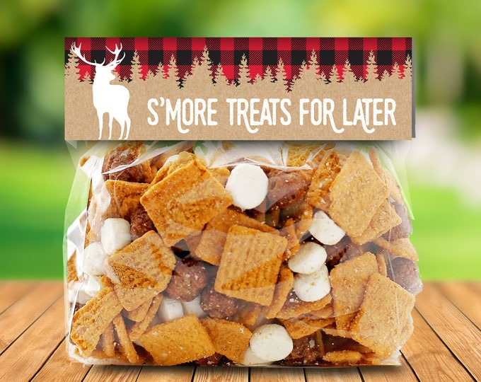 """Lumberjack Party Favor Bag Topper - S'more Treat Favor Topper, S'more Treats, 6.5"""" Baggie Pre-Typed Topper 